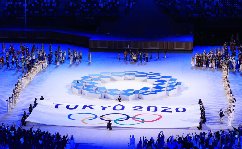 The Tokyo 2020 logo at the opening ceremony of the Tokyo 2020 Summer Olympic Games at the National Stadium.