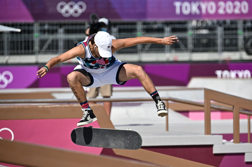 Jagger Eaton of the US competes in the men's street prelims heat 1 during the Tokyo 2020 Olympic Games at Ariake Sports Park Skateboarding in Tokyo on July 25, 2021.
