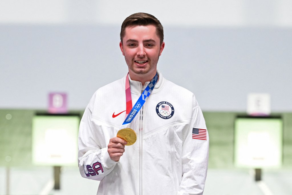 Gold medallist USA's William Shaner poses on the podium during the medal ceremony for the men's 10m air rifle final during the Tokyo 2020 Olympic Games at the Asaka Shooting Range in the Nerima district of Tokyo on July 25, 2021.