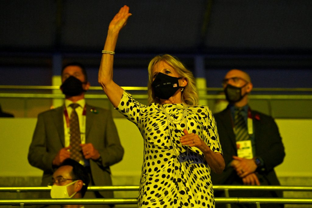 First lady Jill Biden waves during the Opening Ceremony of the Tokyo 2020 Olympic Games at Olympic Stadium on July 23, 2021 in Tokyo, Japan.