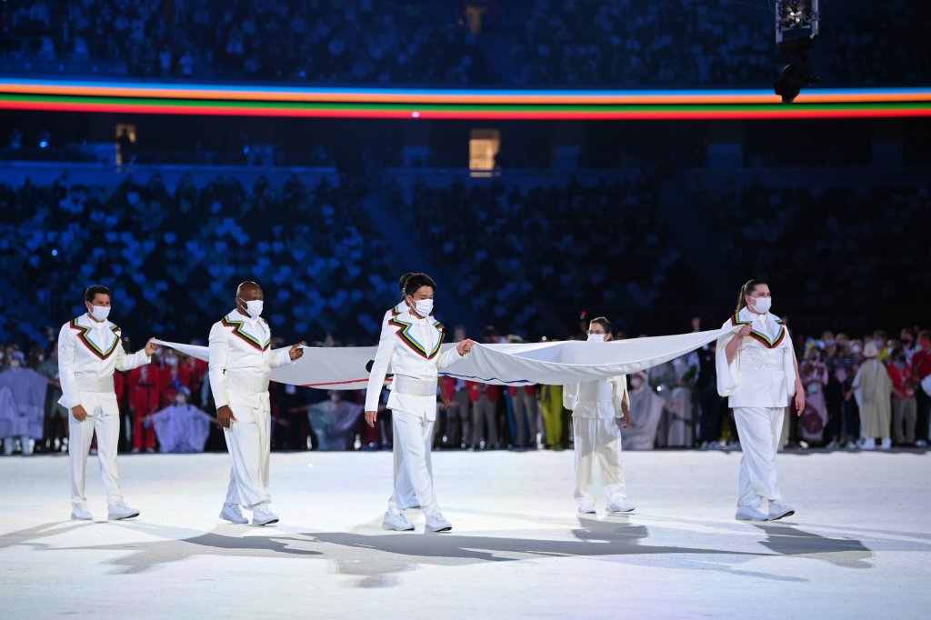 The Olympic flag is carried into the stadium during the Opening Ceremony of the Tokyo 2020 Olympic Games at Olympic Stadium on July 23, 2021 in Tokyo, Japan.