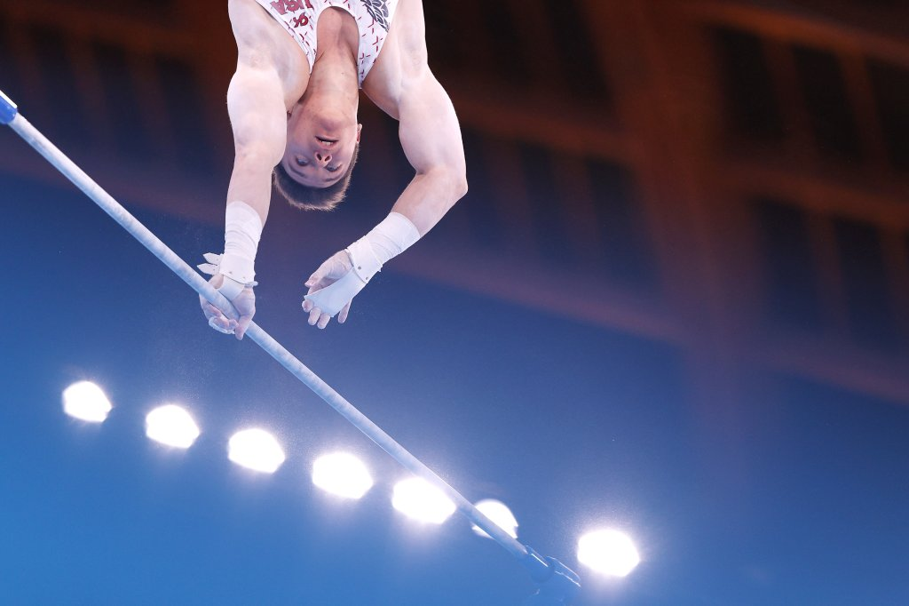 Brody Malone of Team USA competes on the horizontal bar during Men's Qualification on day one of the Tokyo 2020 Olympic Games at Ariake Gymnastics Centre on July 24, 2021 in Tokyo, Japan.