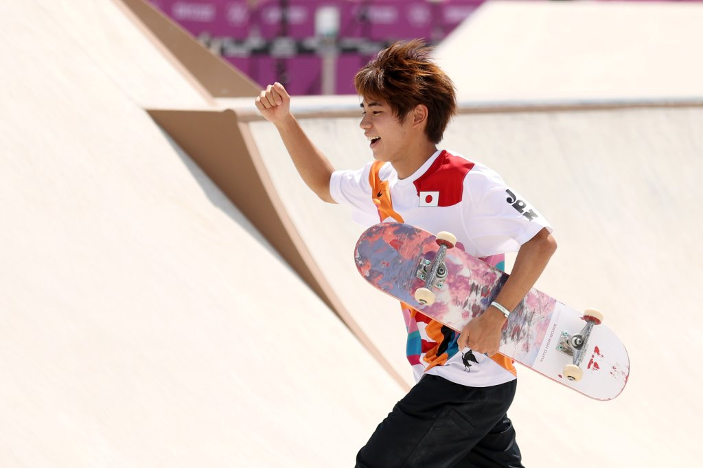 Yuto Horigome of Team Japan celebrates winning the gold medal in the Skateboarding Men's Street Finals on day two of the Tokyo 2020 Olympic Games at Ariake Urban Sports Park on July 25, 2021 in Tokyo, Japan.