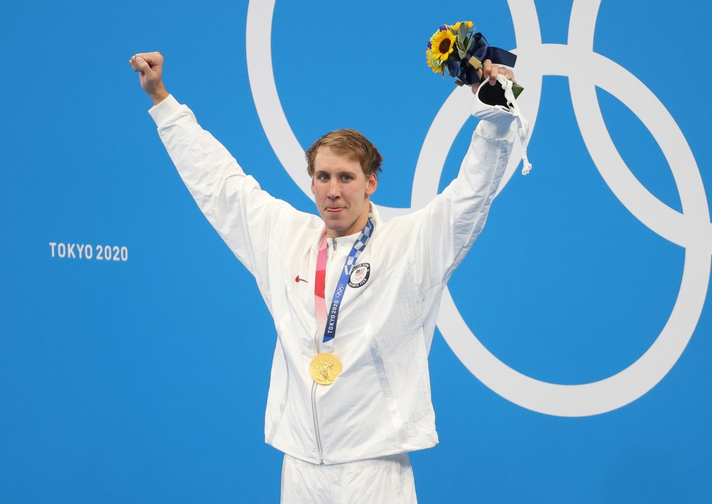 Gold medalist Chase Kalisz of USA during the medals ceremony of the 400m individual medley final on day two of the Tokyo 2020 Olympic Games at Tokyo Aquatics Centre on July 25, 2021 in Tokyo, Japan.