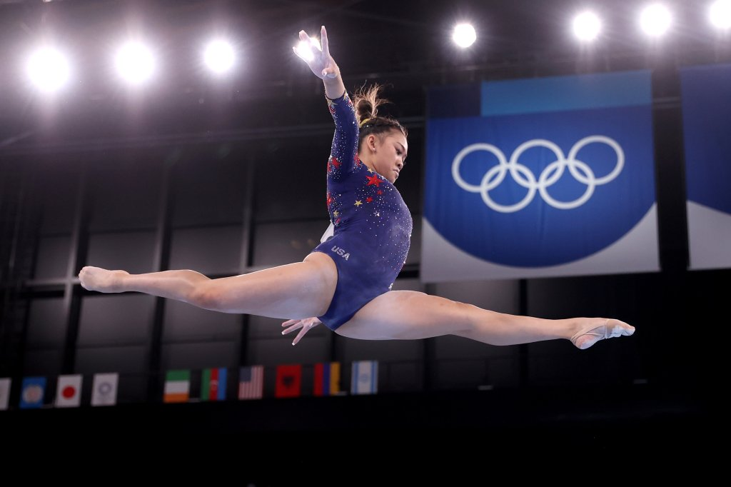 Sunisa Lee of Team United States competes on balance beam during Women's Qualification on day two of the Tokyo 2020 Olympic Games at Ariake Gymnastics Centre on July 25, 2021 in Tokyo, Japan.