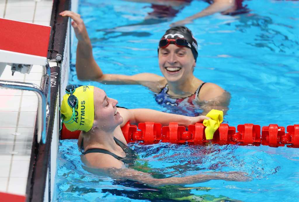 Ariarne Titmus of Team Australia and Katie Ledecky of Team United States react after competing in the Women's 400m Freestyle Final on day three of the Tokyo 2020 Olympic Games at Tokyo Aquatics Centre on July 26, 2021, in Tokyo, Japan.