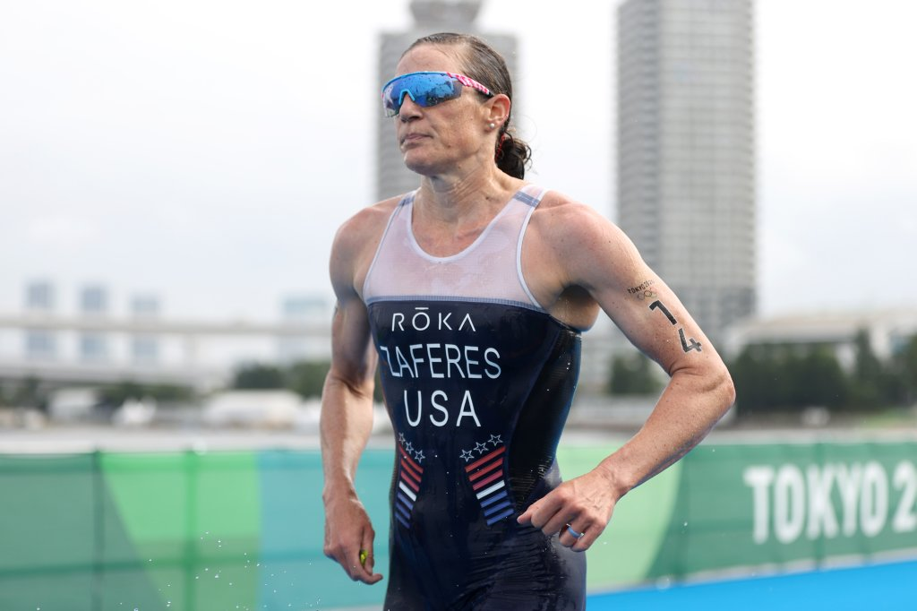 Katie Zaferes of Team United States competes during the Women's Individual Triathlon on day four of the Tokyo 2020 Olympic Games at Odaiba Marine Park on July 27, 2021, in Tokyo, Japan.