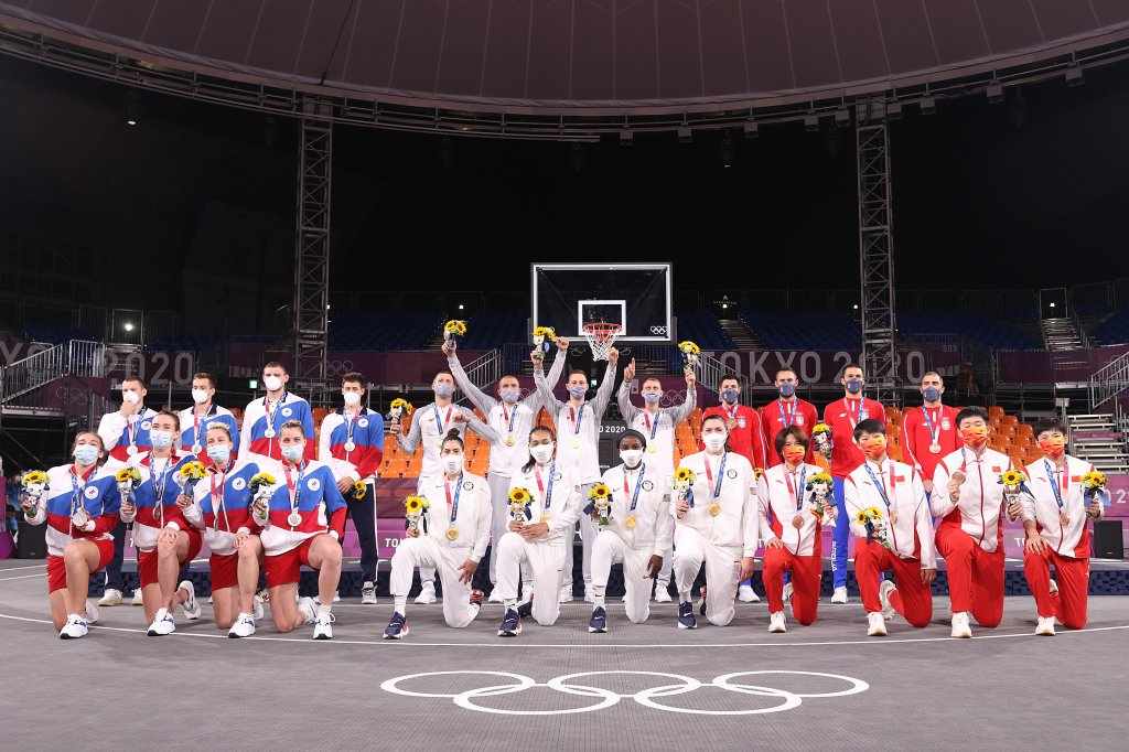 Gold medalists Team Latvia and Team USA, Silver medalists Team ROC and Team ROC, and Bronze medalists Team Serbia and Team China pose with their medals in the 3x3 Basketball competition on day five of the Tokyo 2020 Olympic Games at Aomi Urban Sports Park on July 28, 2021 in Tokyo, Japan.