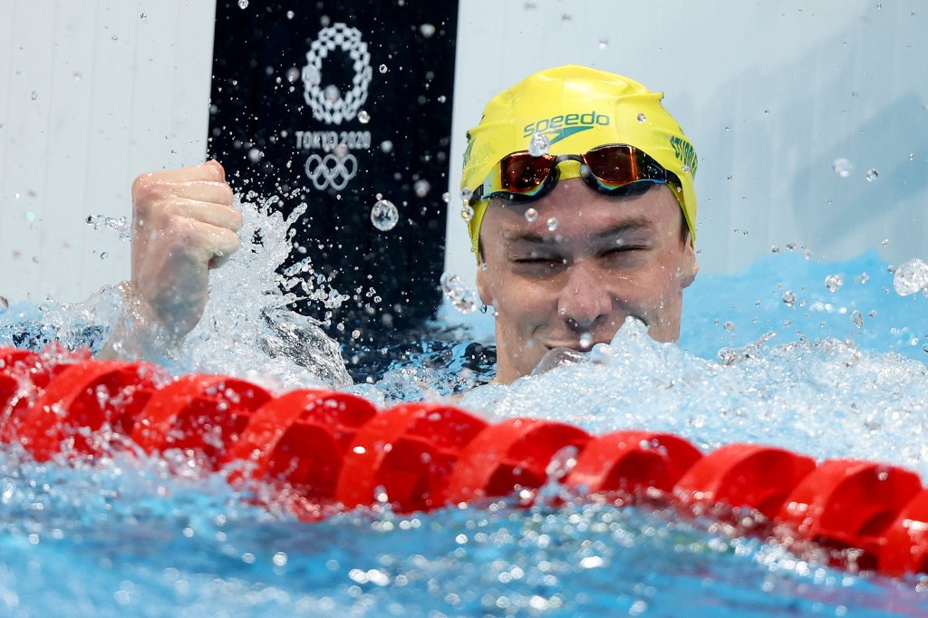 Zac Stubblety-Cook of Team Australia reacts after winning the gold medal