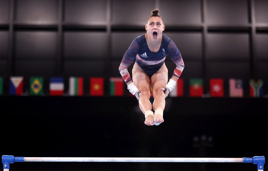Jennifer Gadirova of Team Great Britain competes on uneven bars during the Women's All-Around Final on day six of the Tokyo 2020 Olympic Games at Ariake Gymnastics Centre on July 29, 2021 in Tokyo, Japan.