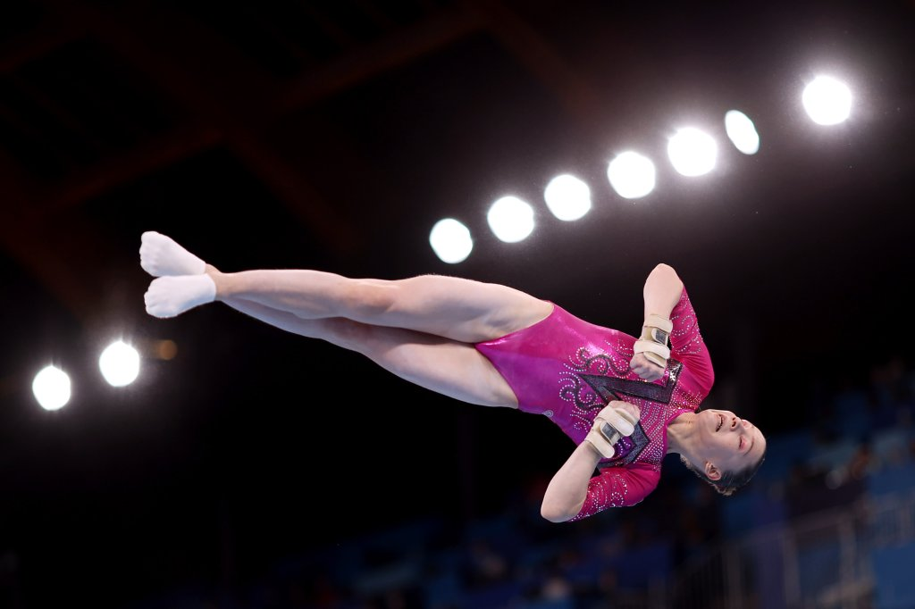 Vladislava Urazova of Team ROC competes on balance beam during the Women's All-Around Final on day six of the Tokyo 2020 Olympic Games at Ariake Gymnastics Centre on July 29, 2021 in Tokyo, Japan.