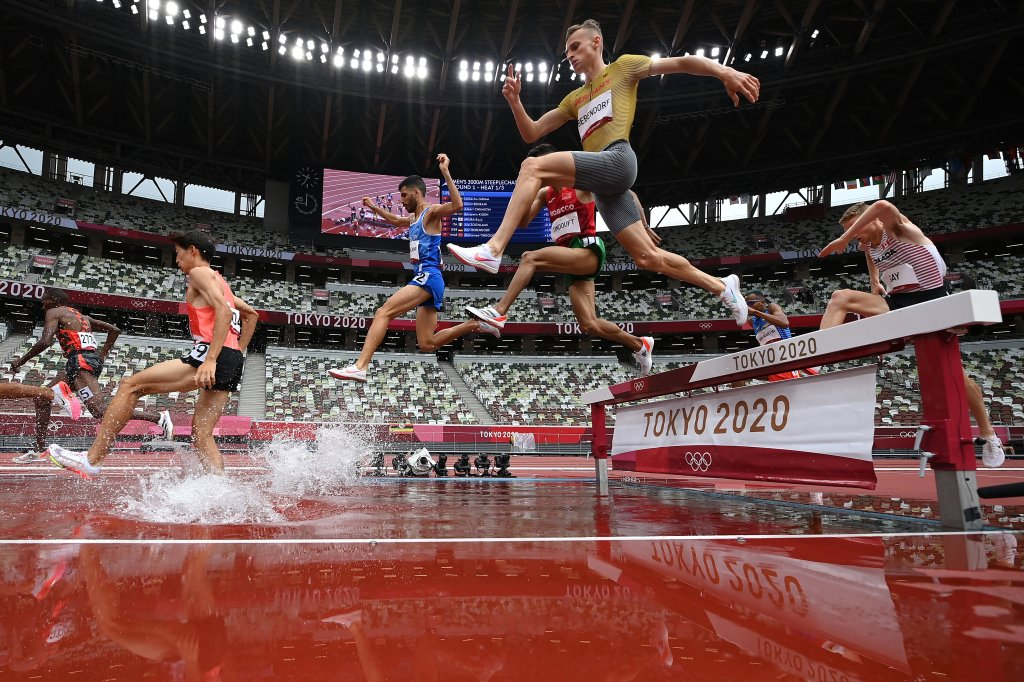 Athletes compete during round one of the Men's 3000m Steeplechase heats