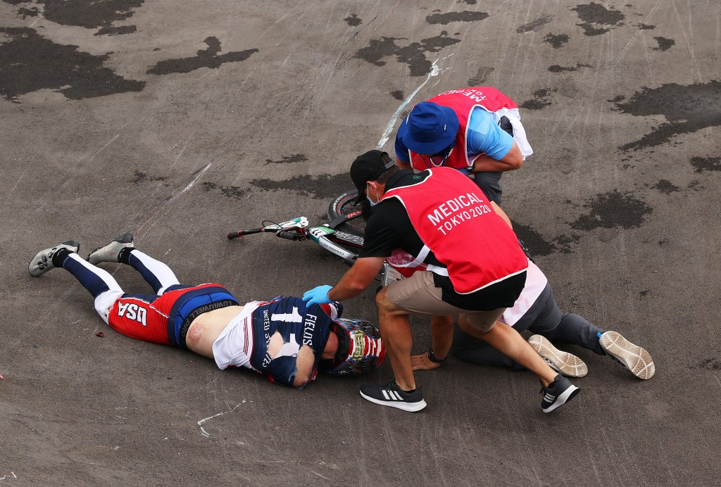 Connor Fields of Team United States receives medical treatment after a crash