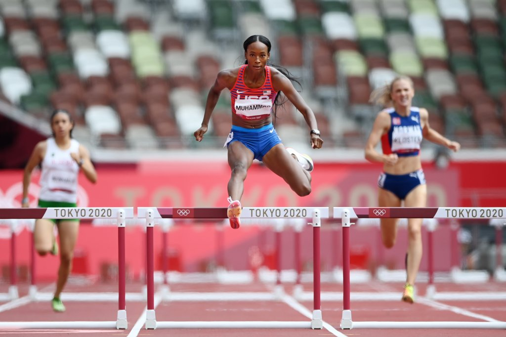 Dalilah Muhammad of Team United States competes in round one of the Women's 400m hurdles heats on day eight of the Tokyo 2020 Olympic Games at Olympic Stadium on July 31, 2021, in Tokyo, Japan.