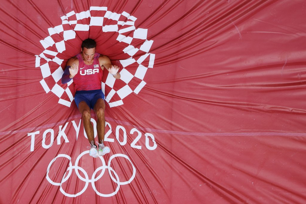 KC Lightfoot of Team United States competes in the Men's Pole Vault Qualification on day eight of the Tokyo 2020 Olympic Games at Olympic Stadium on July 31, 2021 in Tokyo, Japan.
