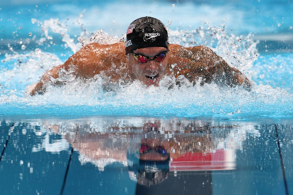 Caeleb Dressel of Team United States competes in the Men's 100m Butterfly Final at Tokyo Aquatics Centre on July 31, 2021, in Tokyo, Japan.