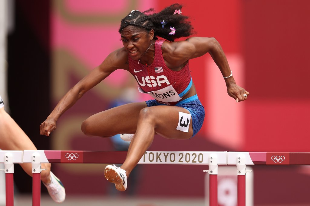 Christina Clemons of Team United States competes in round one of the women's 100m hurdles heats on day eight of the Tokyo 2020 Olympic Games at Olympic Stadium on July 31, 2021, in Tokyo, Japan.