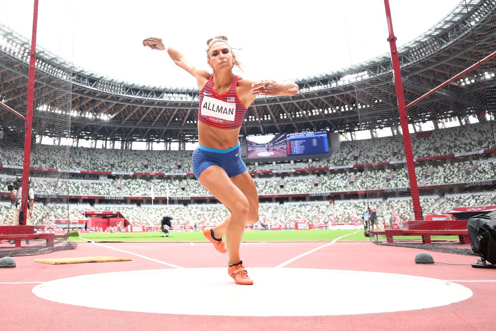 Valarie Allman of Team United States competes in the Women's Discus Throw Qualification on day eight of the Tokyo 2020 Olympic Games at Olympic Stadium on July 31, 2021, in Tokyo, Japan.