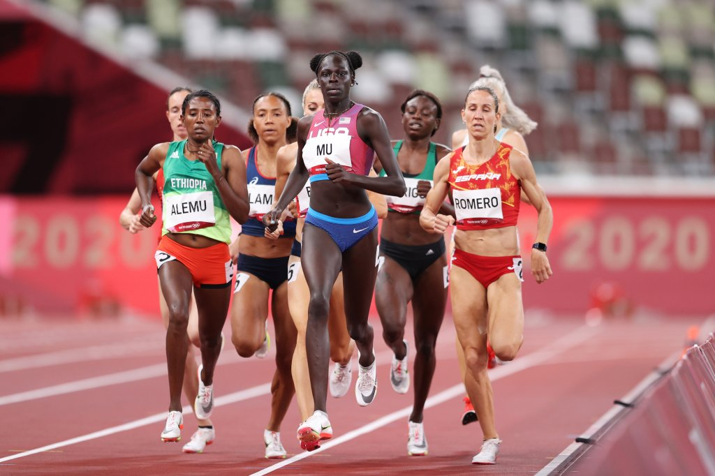 Habitam Alemu of Team Ethiopia and Athing Mu of Team United States lead their Women's 800m Semi-Final field on day eight of the Tokyo 2020 Olympic Games at Olympic Stadium on July 31, 2021 in Tokyo, Japan.