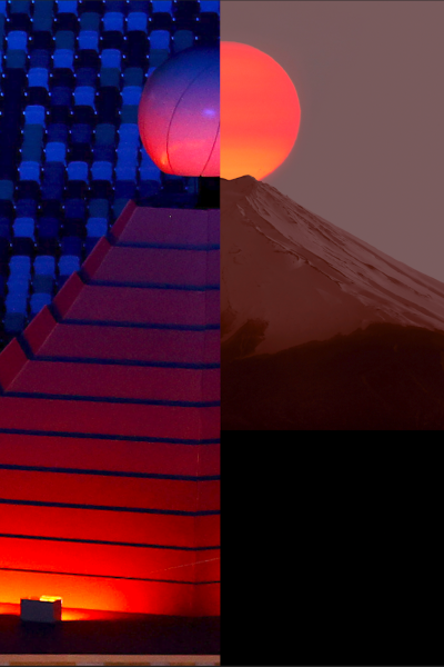 Split screen with Olympic cauldron and Mount Fuji in Japan.