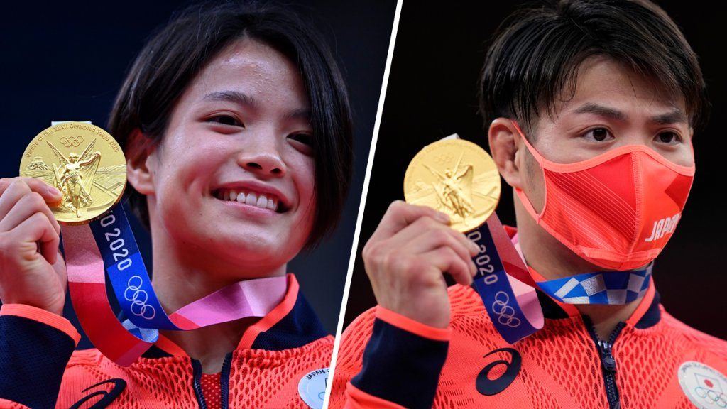 Abe siblings Uta, left, and Hifumi, right, became the first sibling duo to win gold medals at the same Olympics on July 25, 2021, in Tokyo.