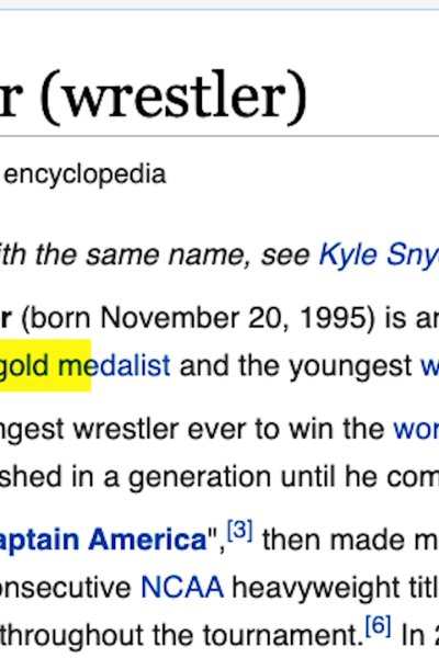 Kyle Snyder and his Wikipedia page