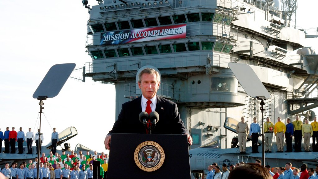 President George W. Bush declares the end of major combat in Iraq as he speaks aboard the aircraft carrier USS Abraham Lincoln, May 1, 2003.