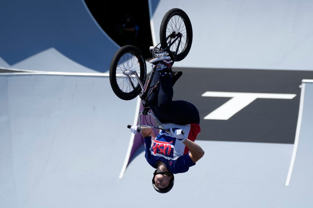 Hannah Roberts of the United States competes in the women's BMX freestyle final at the 2020 Summer Olympics, Sunday, Aug. 1, 2021, in Tokyo, Japan. Roberts won the first-ever BMX freestyle park medal for the United States, coming in second to Charlotte Worthington of Great Britain.