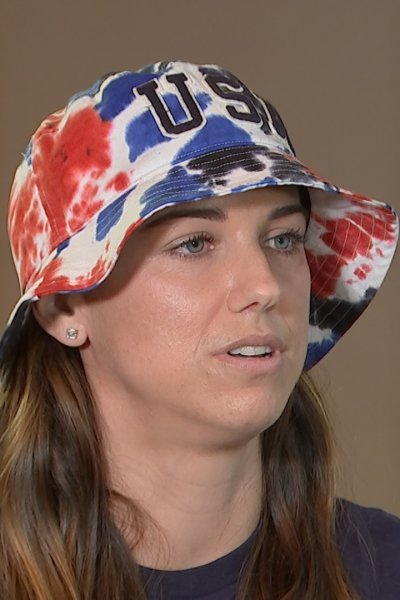 Alex Morgan looks at the interviewer