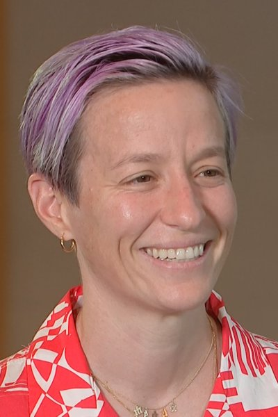 Megan Rapinoe smiles at the interviewer