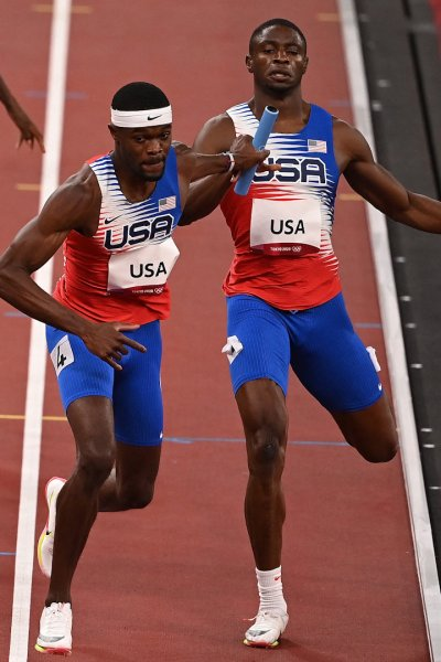 Team USA during the men's 4x400m relay.