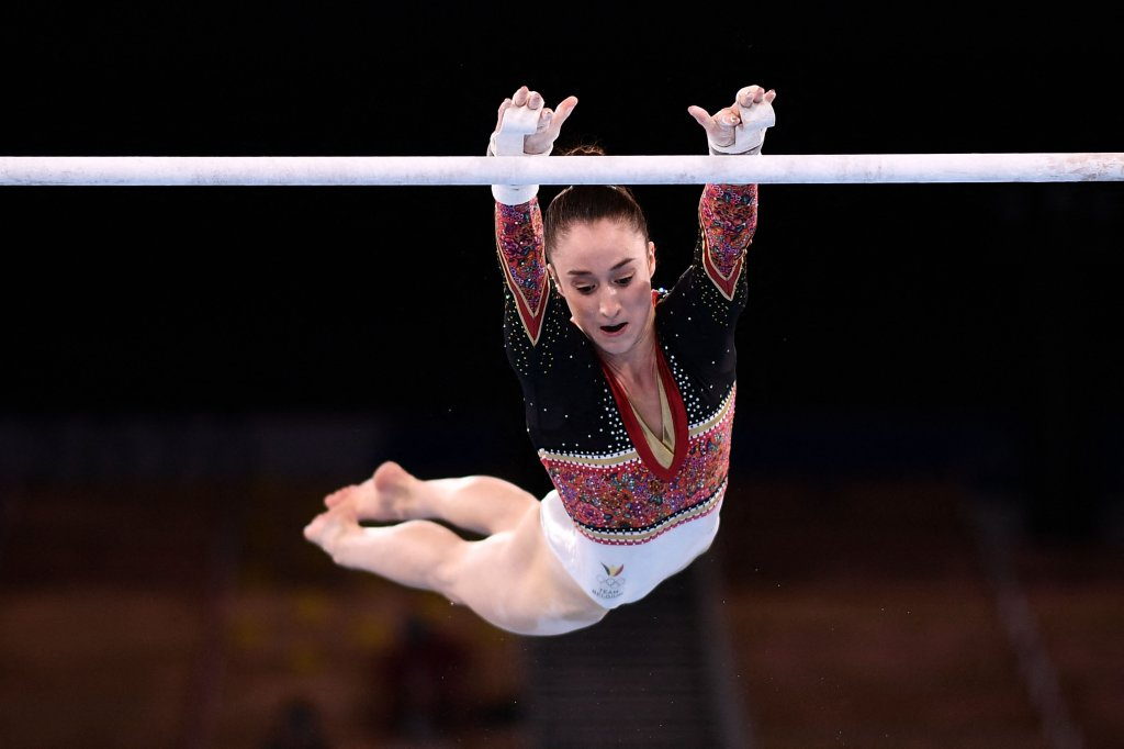 Belgium's Nina Derwael competes in the artistic gymnastics women's uneven bars final of the Tokyo 2020 Olympic Games at the Ariake Gymnastics Centre in Tokyo on Aug. 1, 2021. Derwael took home gold for the category.