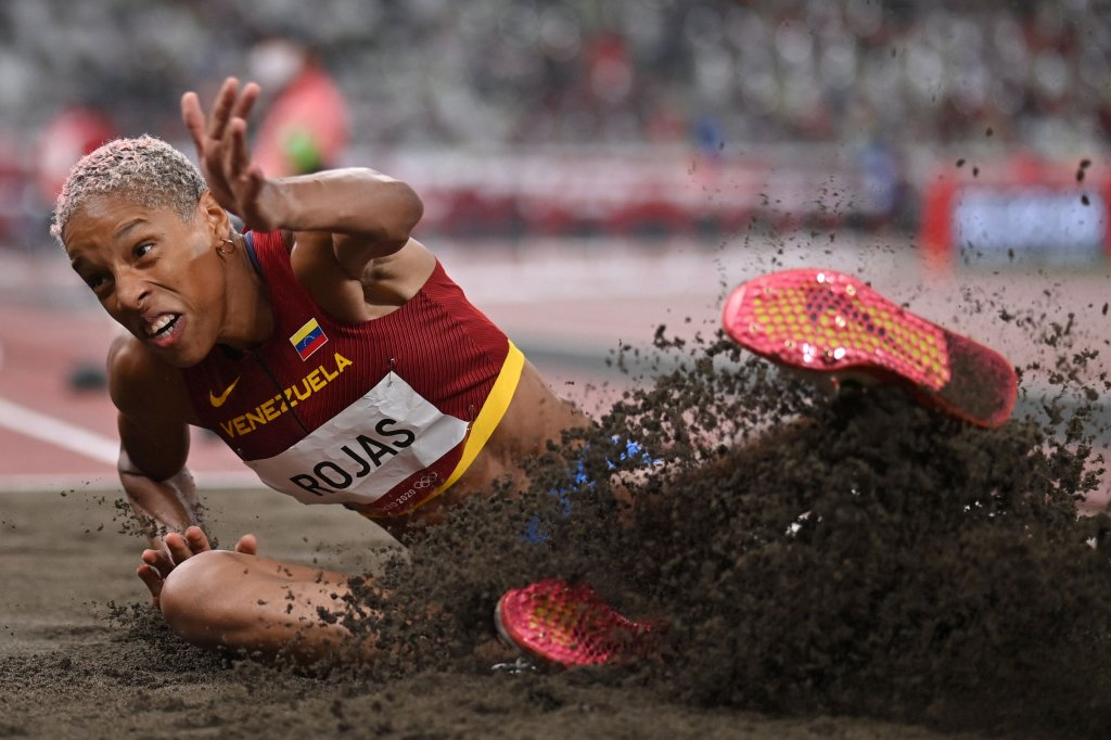 Venezuela's Yulimar Rojas competes in the women's triple jump final during the Tokyo 2020 Olympic Games at the Olympic Stadium in Tokyo on Aug. 1, 2021.