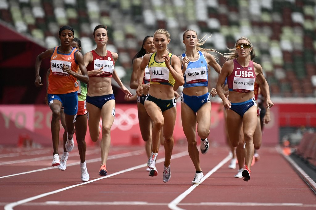 Netherlands' Sifan Hassan (2nd L) wins ahead of Australia's Jessica Hull (C) and USA's Elinor Purrier (R) the women's 1500m heats during the Tokyo 2020 Olympic Games at the Olympic Stadium in Tokyo on August 2, 2021.