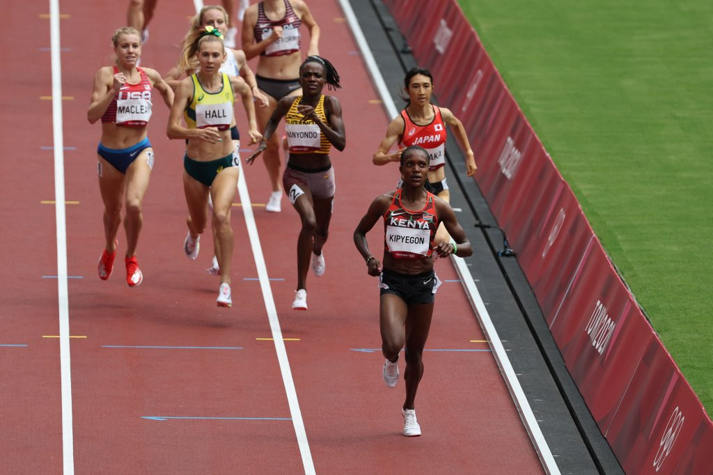 Kenya's Faith Kipyegon, the fourth-fastest Women's 1500-Meter runner of all time won heat three of the event's preliminaries in 4:01.40 to make the semifinals as the top qualifier during the Tokyo 2020 Olympic Games at the Olympic Stadium in Tokyo, Japan on Aug. 2, 2021.