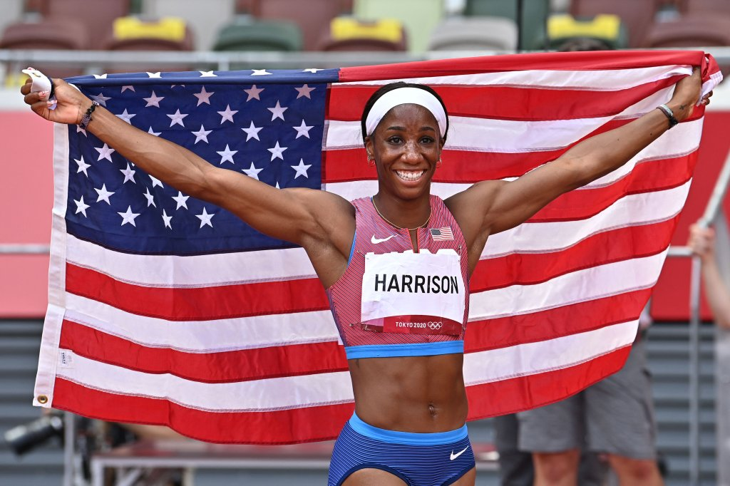 Silver medallist USA's Kendra Harrison celebrates after the women's 100m hurdles final during the Tokyo 2020 Olympic Games at the Olympic Stadium in Tokyo on Aug. 2, 2021.