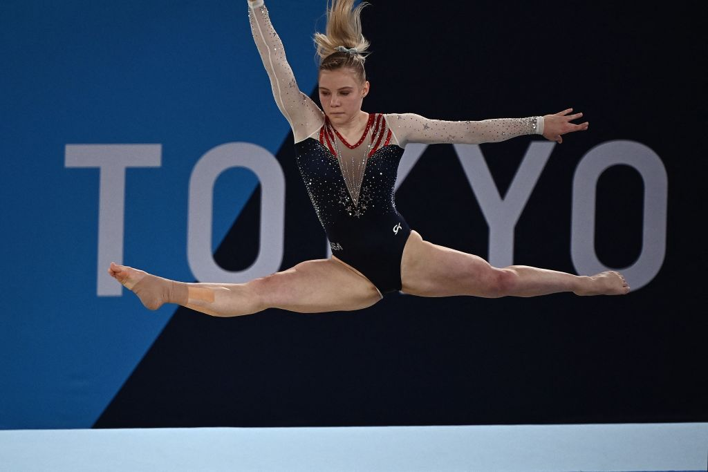 USA's Jade Carey competes in the artistic gymnastics women's floor exercise