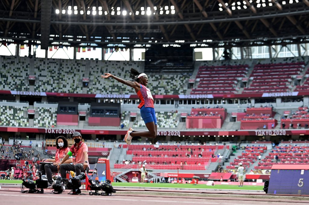The United State's Brittney Reese competes in the women's long jump final during the Tokyo 2020 Olympic Games at the Olympic Stadium in Tokyo on Aug. 3, 2021.