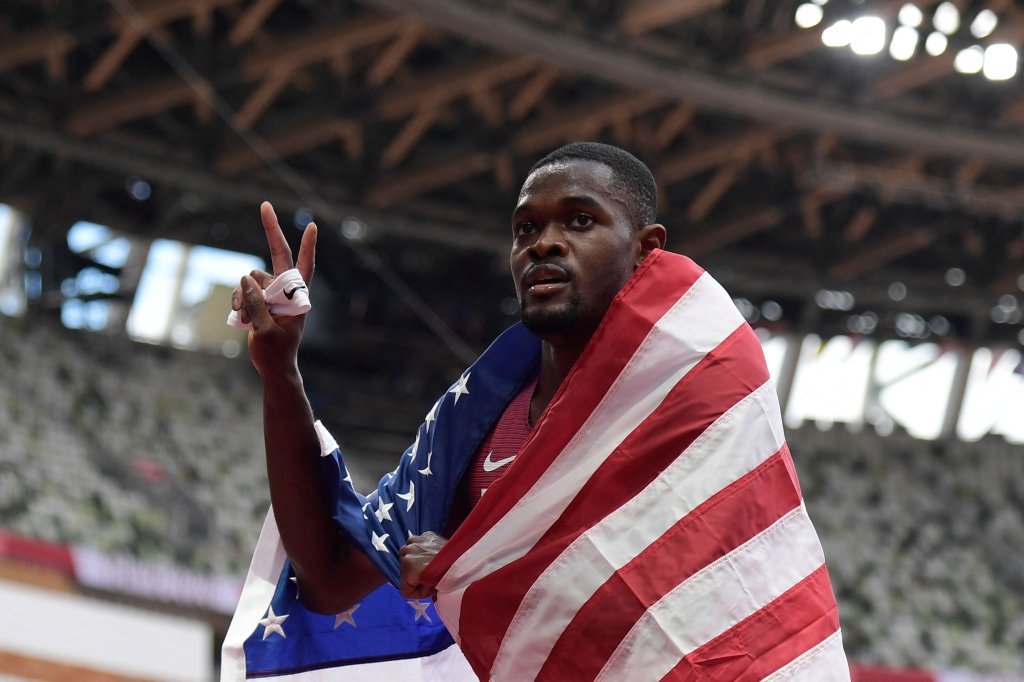 USA's Rai Benjamin poses after taking second place in the men's 400m hurdles final during the Tokyo 2020 Olympic Games at the Olympic Stadium in Tokyo on August 3, 2021.