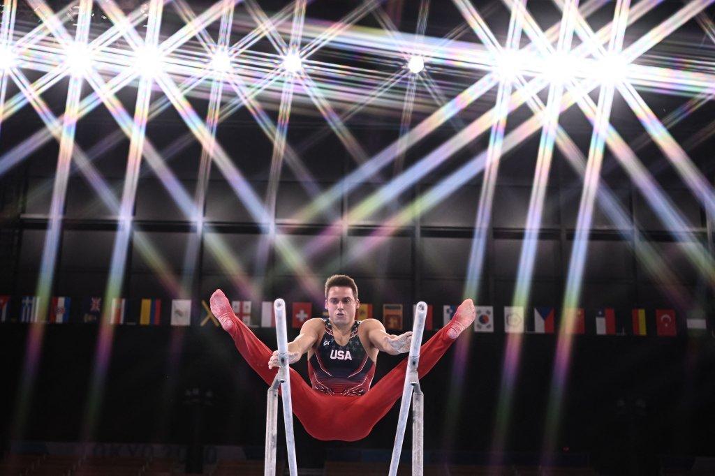 USA's Samuel Mikulak competes in the artistic gymnastics men's parallel bars final