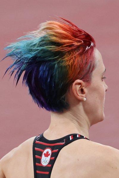Canada's Gabriela Debues-Stafford's rainbow hair from behind