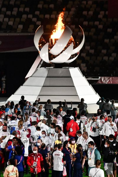 Athletes parade in the closing ceremony of the Tokyo Olympics