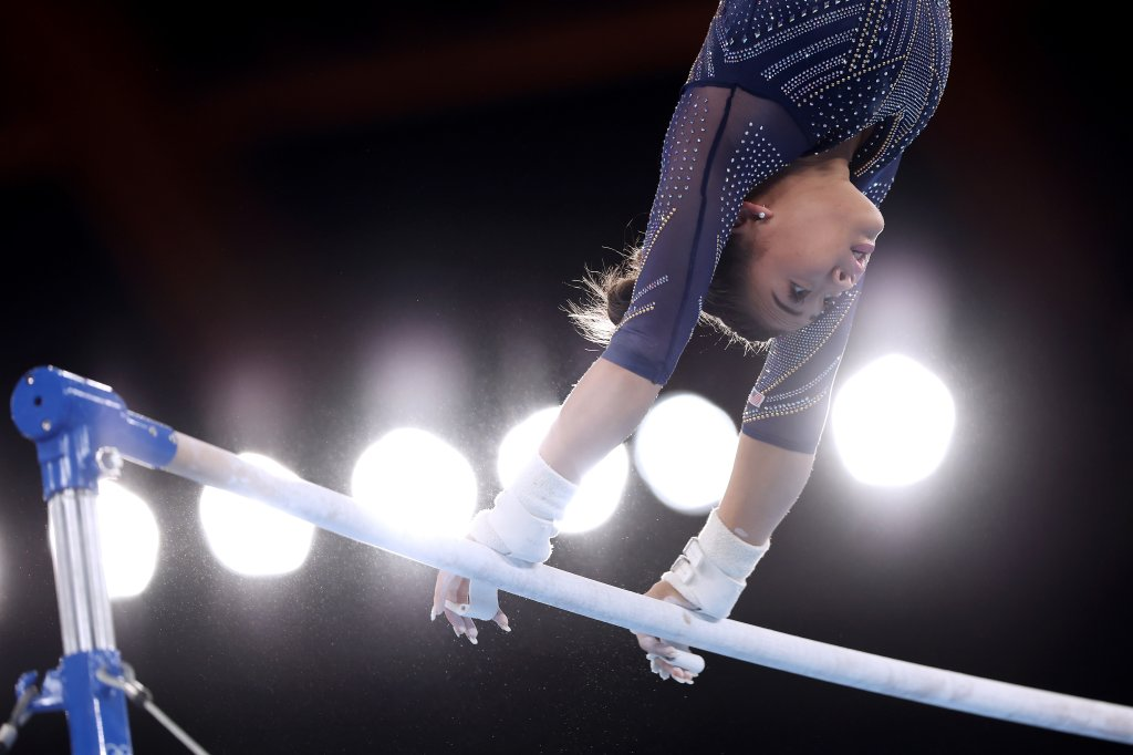 Sunisa Lee of Team USA competes in the Women's Uneven Bars Final on day nine of the Tokyo 2020 Olympic Games at Ariake Gymnastics Centre on Aug. 1, 2021, in Tokyo, Japan.