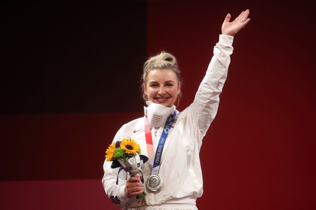 Silver medalist Katherine Elizabeth Nye of Team United States poses with the silver medal during the medal ceremony for the Weightlifting - Women's 76kg Group A on day nine of the Tokyo 2020 Olympic Games at Tokyo International Forum on Aug. 1, 2021 in Tokyo, Japan.