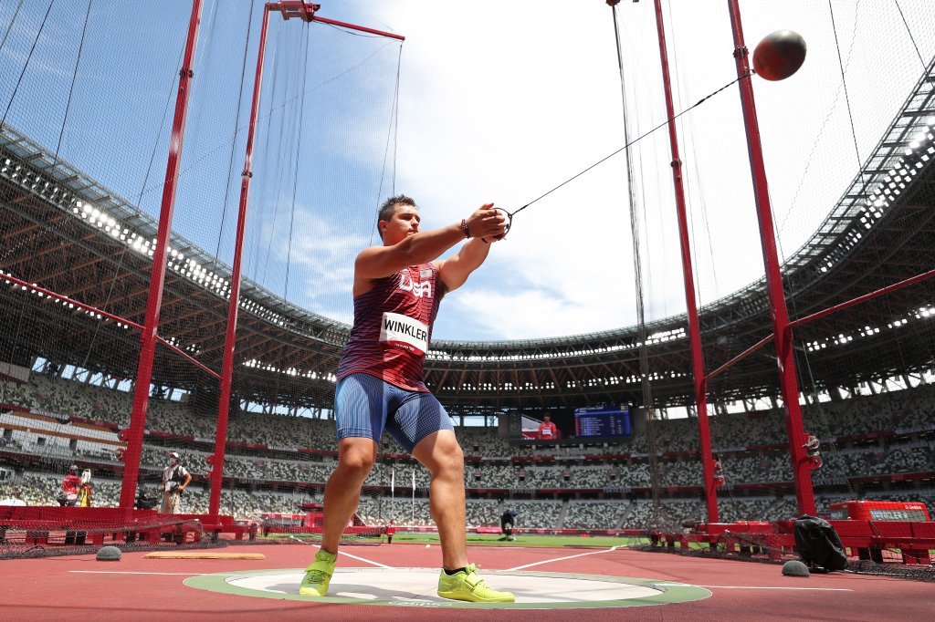 Rudy Winkler of Team United States competes in the Men's Hammer Throw Qualification on day 10 of the Tokyo 2020 Olympic Games at Olympic Stadium on Aug. 2, 2021, in Tokyo, Japan.