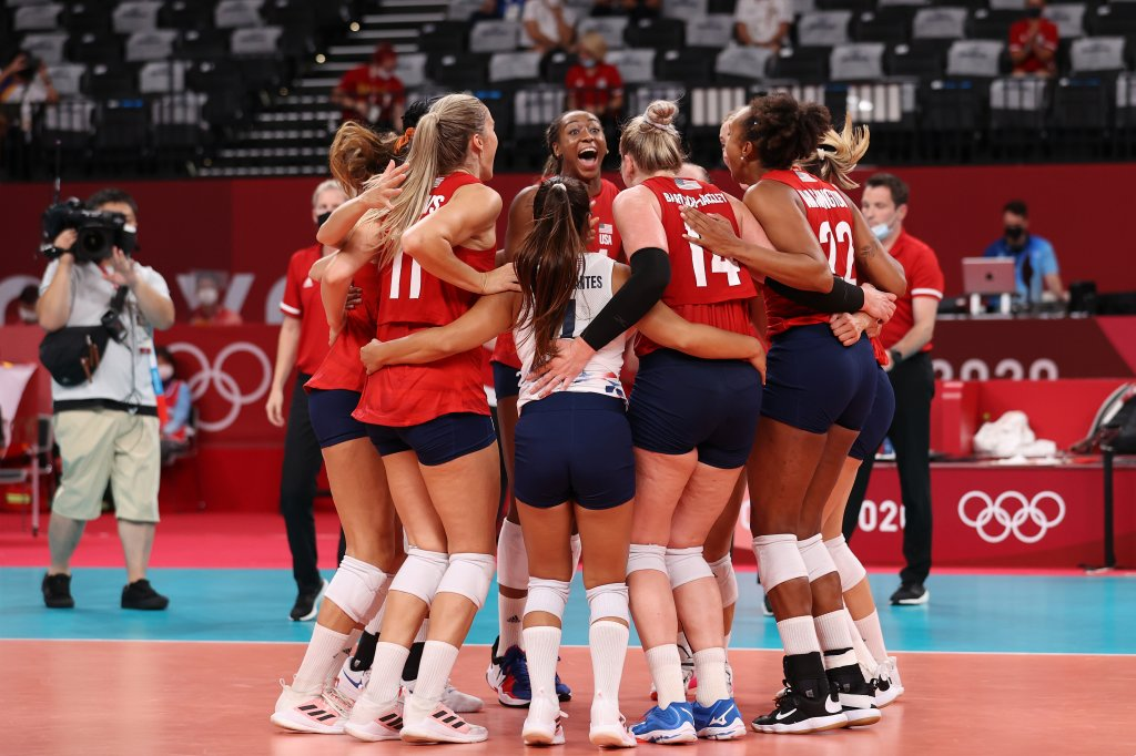Team United States celebrates after defeating Team Italy during the Women's Preliminary - Pool B volleyball on day ten of the Tokyo 2020 Olympic Games at Ariake Arena on Aug. 2, 2021, in Tokyo, Japan.