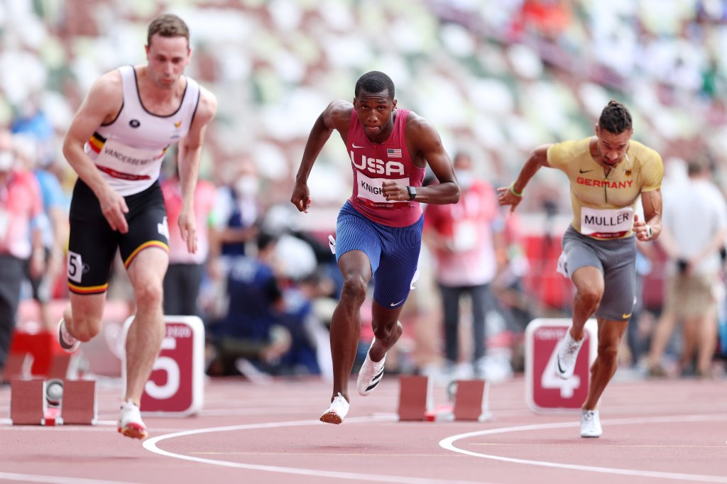 Erriyon Knighton of Team United States competes in round one of the Men's 200m heats on day eleven of the Tokyo 2020 Olympic Games at Olympic Stadium on Aug. 3, 2021, in Tokyo, Japan.