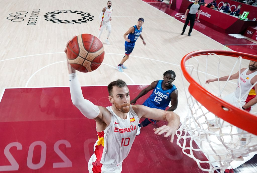 Victor Claver #10 of Team Spain goes up for a dunk against Team United States during the first half of a Men's Basketball Quarterfinal game on day eleven of the Tokyo 2020 Olympic Games at Saitama Super Arena on Aug. 3, 2021, in Saitama, Japan.