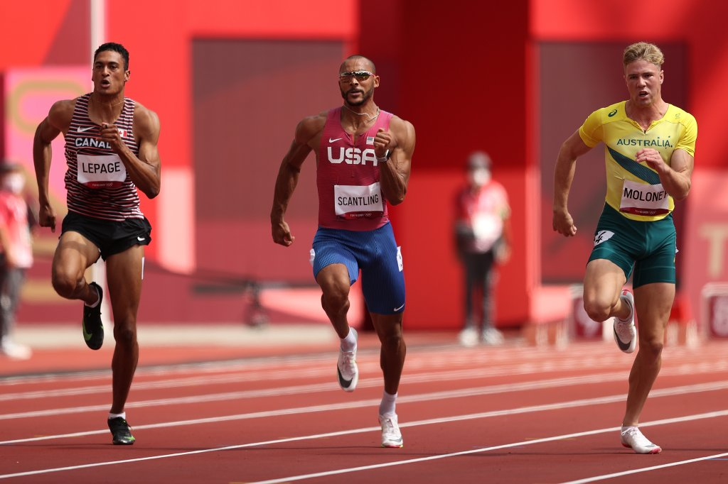 Pierce Lepage of Team Canada, Garrett Scantling of Team United States and Ashley Moloney of Team Australia compete in the Men's Decathlon 100m heats on day 12 of the Tokyo 2020 Olympic Games at Olympic Stadium on Aug. 4, 2021, in Tokyo, Japan.