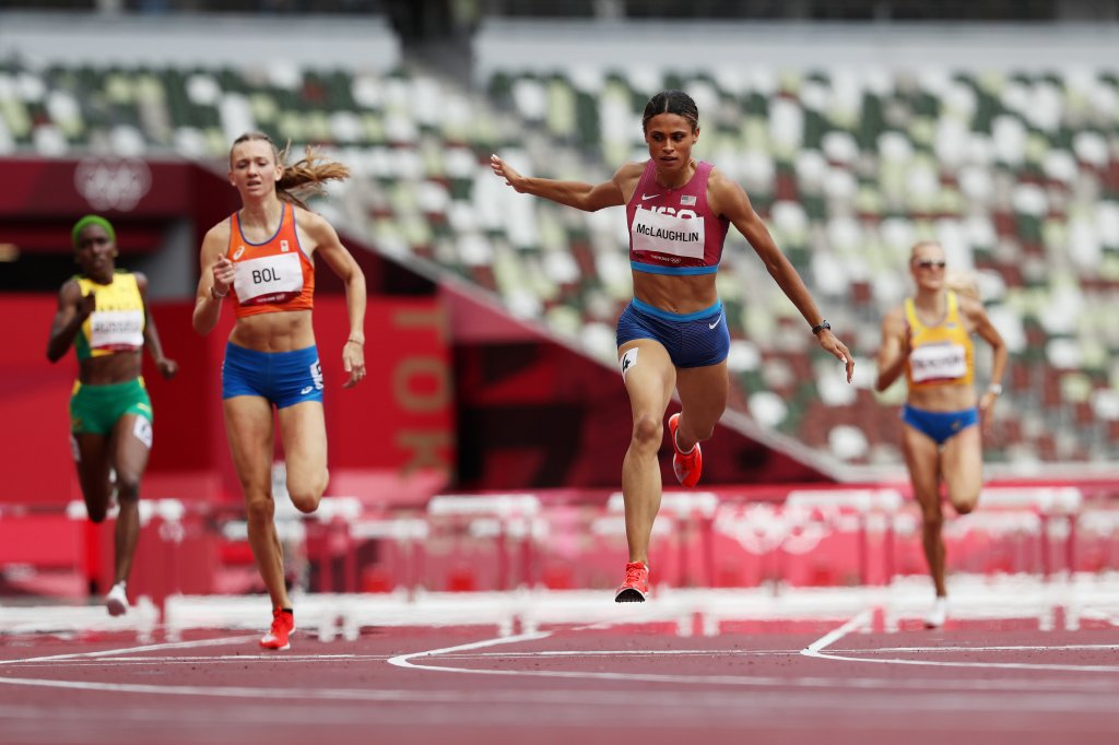 Sydney McLaughlin of Team United States wins the gold medal in the Women's 400m Hurdles Final on day 12 of the Tokyo 2020 Olympic Games at Olympic Stadium on Aug. 4, 2021, in Tokyo, Japan.
